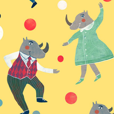 Dancing Rhinos party pattern