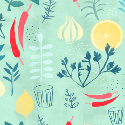 Herbs Pattern vintage retro kitchen food pattern with herbs