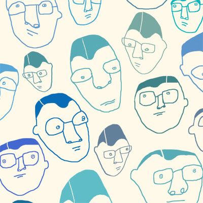 nerdies pattern of man heads with glasses