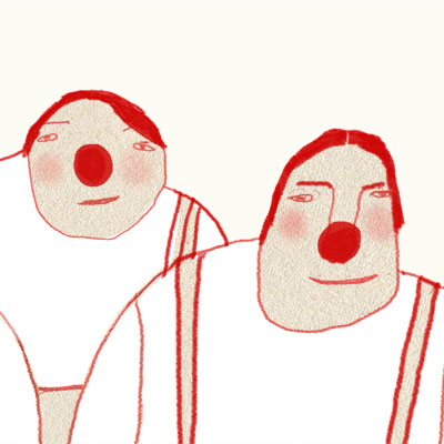Illustration of five men with red noses
