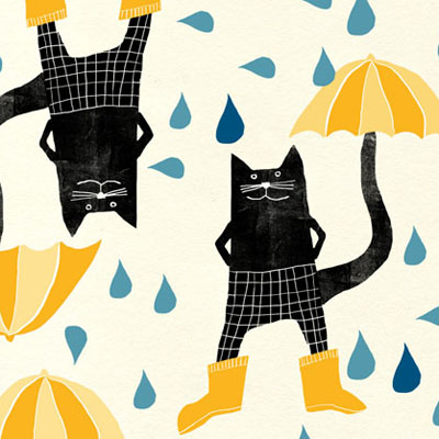 a quirky cat and umbrella pattern in yellow and black