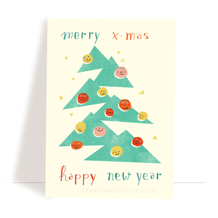 'Christmas Tree' Christmas postcard by Nelleke Verhoeff