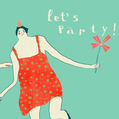Let's Party- party postcard with three dancing ladies