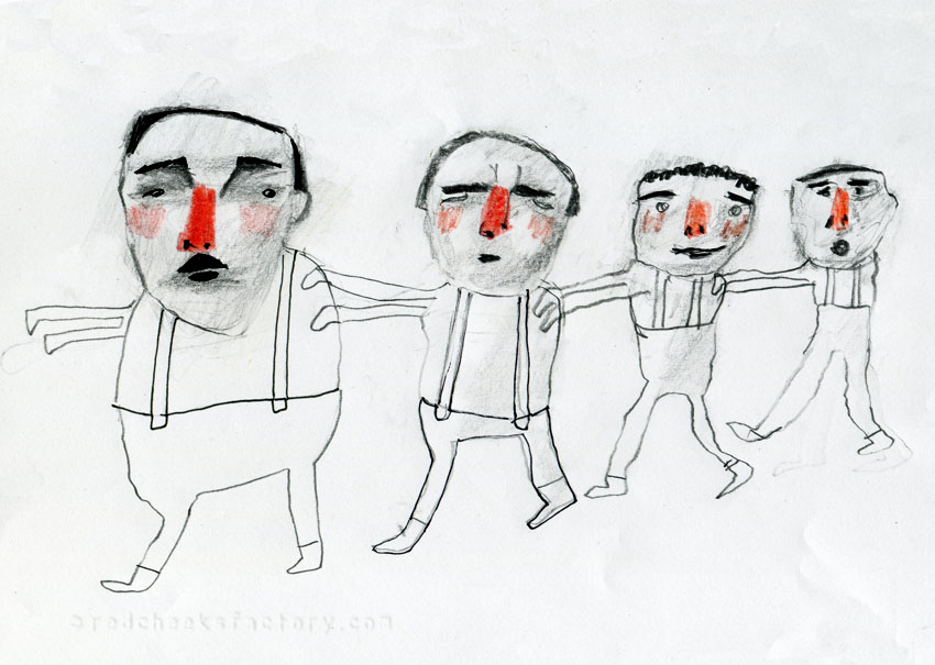 Red nose Parade from my sketchbook