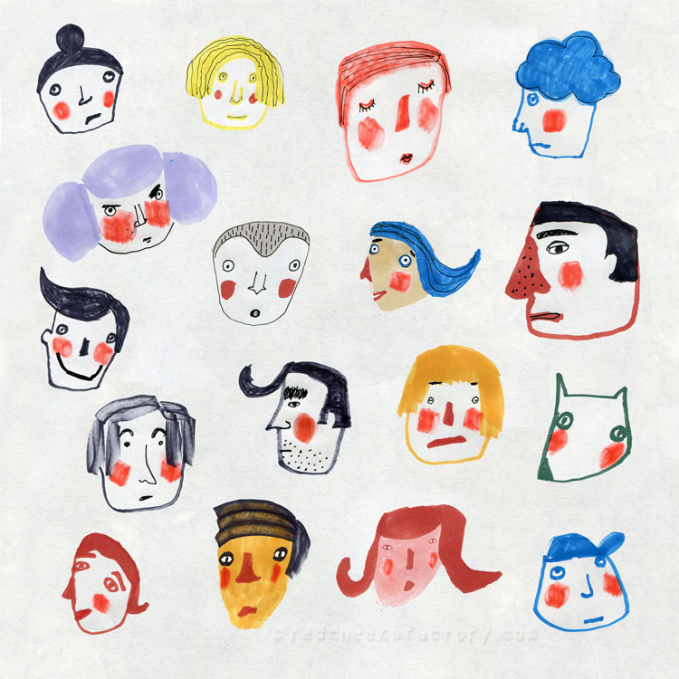 Marker faces from my sketchbook